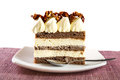 Cake with walnut caramel topping Stock Photo