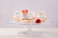 Cake with white cream and fresh strawberries on Royalty Free Stock Photo