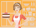 Cake woman is holding on the plate Royalty Free Stock Image