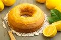 Cake and yellow lemons Royalty Free Stock Photo