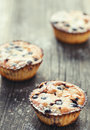 Caked with blueberry on wood bzckground close up Royalty Free Stock Photos