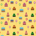 Cakes and balloons vector seamless pattern. Sweet cream pie with candles on white background. Vector illustration