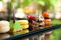 Cakes and biscuits gorgeous view of different served in outdoors Stock Photography