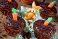 Cakes with carrot Easter traditional sweet treats for kids Royalty Free Stock Photo
