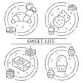 Cakes and cookies theme horizontal banner. Pictograms of pie, brownie, biscuit, tiramisu, roll and other dessert related elements