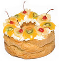 Cakes with cream and fruits Royalty Free Stock Image