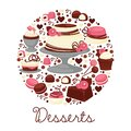 Cakes and cupcakes or macaroons, chocolate and cream desserts emblem Royalty Free Stock Photo