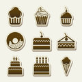 Cakes icons over beige background vector illustration Stock Photo