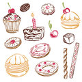 Cakes muffins colorful vector set with sweets and Stock Photos