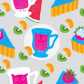 Cakes and owl tea cup Seamless Pattern Stock Photo