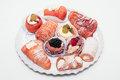 Cakes plate gourmet food sweets cake Stock Images