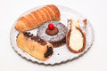 Cakes plate gourmet food sweets cake Stock Image