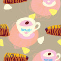 Cakes Seamless Pattern With Coffee Cups Stock Photo