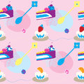 Cakes Seamless Pattern With Coffee Cups and Fruits Stock Image
