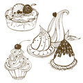 Cakes set isolated hand drawing of cake Royalty Free Stock Images