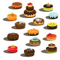 Cakes with smile and chocolate creme cherry Royalty Free Stock Photos