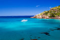 Cala de algariens seascape in sunny day at menorca spain Royalty Free Stock Image