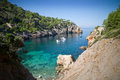 Cala de deia majorca high viewpoint of idyllic inlet in spain Royalty Free Stock Images