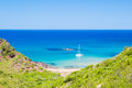 Cala del pilar beach scenery in sunny day at menorca spain Stock Photo