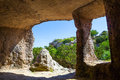 Cala morell necropolis caves view from the inside of at menorca spain Royalty Free Stock Image