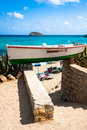 Cala Nova beach in Ibiza island in Balearic Mediterranean Royalty Free Stock Photo