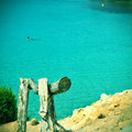 Cala saona beach in formentera balearic islands spain picture of with a retro effect Stock Photos