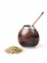 Calabash and bombilla with yerba mate isolated on white background Royalty Free Stock Photos