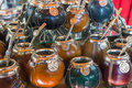 Calabash mate cups a selection of seen in argentina Royalty Free Stock Images