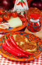 Calabria locale food the south italy soft sausage nduja peper tomato cheese Stock Photography