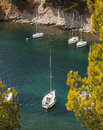 Calanques of cassis france yachts moored in the crystal clear waters luminy calanque near marseille Royalty Free Stock Images