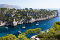 Calanques of port pin in cassis france Stock Photos