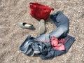 Calças de ganga na praia Imagem de Stock Royalty Free