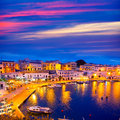 Calasfonts cales fonts port sunset in mahon at balearics balearic islands Royalty Free Stock Photography
