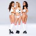 Calciatori femminili sexy seducenti Immagine Stock Libera da Diritti