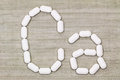 Calcium carbonate tablets in a symbol shape of Ca alphabet Royalty Free Stock Photo