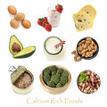 Calcium Rich Foods Isolated on White Royalty Free Stock Photo