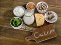 Calcium rich foods sources healthy eating top view Royalty Free Stock Images