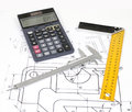 Calculate with calculator vernier caliper and miter on a plan Stock Image