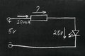 Calculate the resistor on blackboard painted with chalk electrical scheme Royalty Free Stock Images