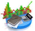 Calculation and analysis of financial market at registration information related to business economy Stock Photography