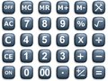 Calculation buttons illustration of related blue rounded Royalty Free Stock Images