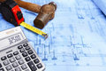 Calculation of construction Royalty Free Stock Image