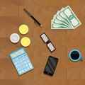 Calculation money top view Royalty Free Stock Photo
