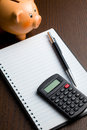 Calculator and blank notebook Royalty Free Stock Photo