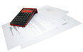 Calculator and business papers on a white background Royalty Free Stock Photo