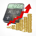 Calculator & coins with arrow Stock Image