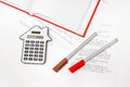 Calculator and contract - insurance, rent and buying car Royalty Free Stock Photo