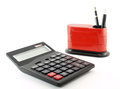 Calculator and desk organizer isolated on white background Royalty Free Stock Photo