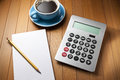 Calculator Desk Pencil Paper Royalty Free Stock Photo