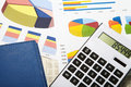Calculator and diagrams on a business background finance accounting Royalty Free Stock Photo